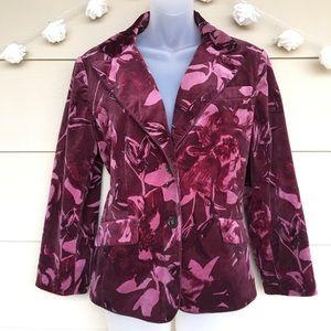 Ann Taylor • Purple Red Floral Faux Velvet Blazer